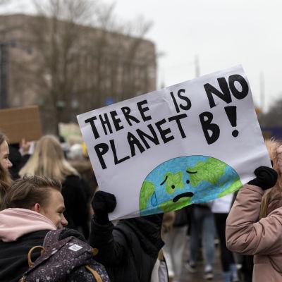 Klimatdemonstration utanför riksdagshuset.