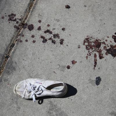 Spår efter massakern i Las Vegas.