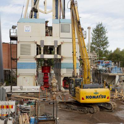 St1:n geotermisen lämpölaitoksen työmaa Espoon Otaniemessä.
