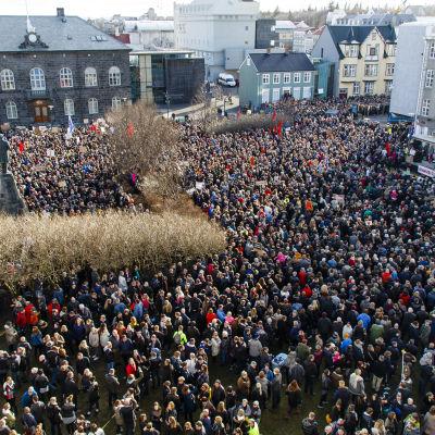 Islänningar demonstrerar utanför parlamentet i Reykjavik och kräver statsminister Sigmundur David Gunnlaugson avgång.