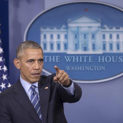 Barack Obama på presskonferens i Vita huset.