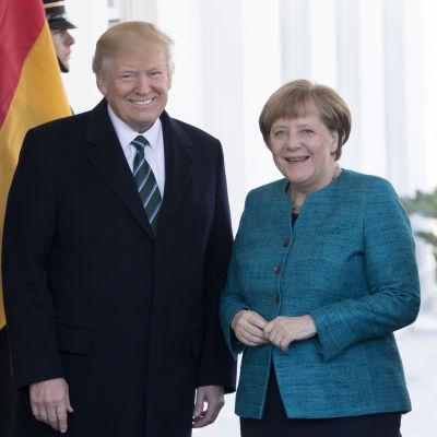 Donald Trump och Angela Merkel vid ingången till Vita huset 17.3.2017