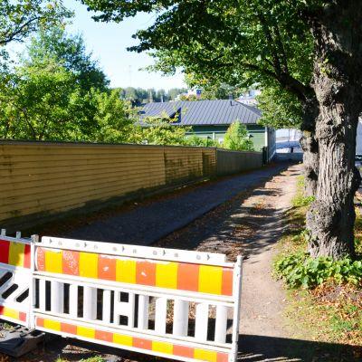 Trottoaren utanför Runebergs hem i Borgå