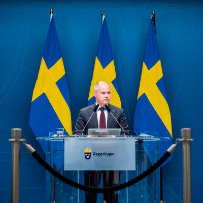 Morgan Johansson takanaan Ruotsin lippuja.