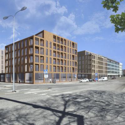 havainnekuva Rovaniemen Valtakadun ja Ruokasenkadun kulman kerrostaloista, jotka aiotaan rakentaa valtion toimistorakennuksen tilalle