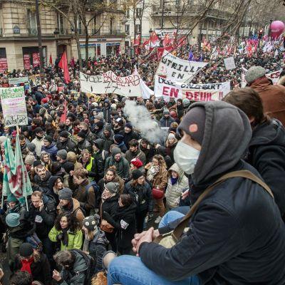 Valtava mielenosoittajajoukko. Etualalla kasvonsa peittänyt mielensosoittaja.