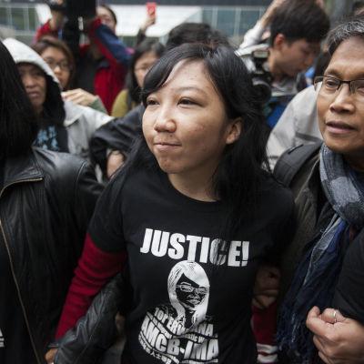 Hembiträdet Erwiana Sulistayaningsih efter att hennes tidigare arbetsgivare dömts till fångelse.