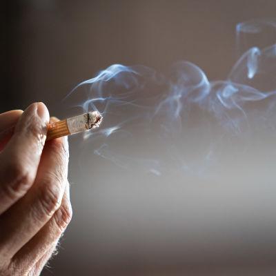 En närbild av en hand som håller i en cigarett.