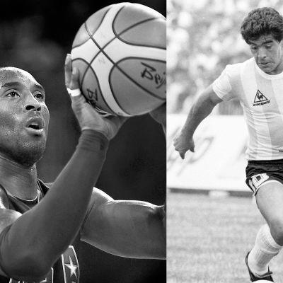 Kobe Bryant till vänster och Diego Maradona till höger.