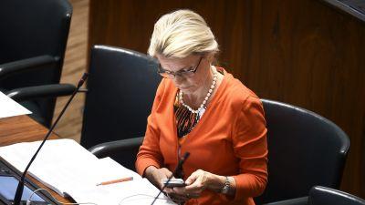 Riksdagsledamoten Päivi Räsänen i riksdagen den 19 juni 2019