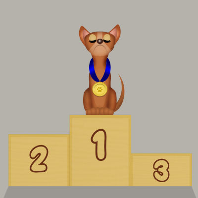 En tecknad hund högst upp på prispallen.