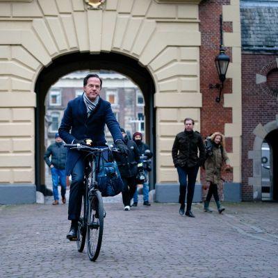 Nederländeras premiärminister Mark Rutte cyklar till parlamentet