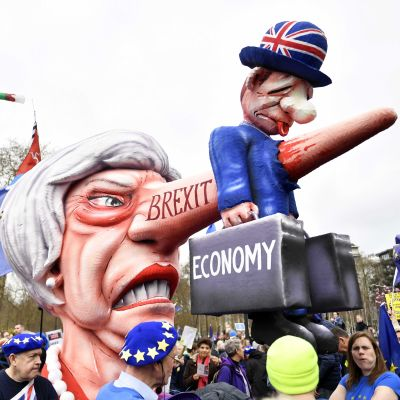 Protester mot brexit, London den 23 mars 2019.