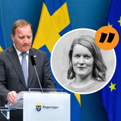 Ett kollage med Marianne Sundholm och Stefan Löfven framför två svenska flaggor
