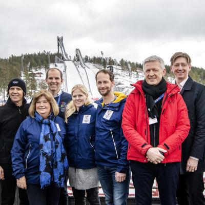 Sveriges OS-kommitté i Falun. (Christophe Dubi, Gunilla Lindberg, Richard Brisius, Jessica Lindell Vikarby, Anders Södergren, Octavian Morariu, Joakim Storck, Stefan Holm)