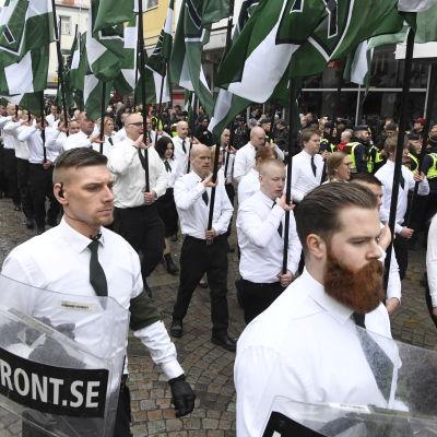 Nordiska motståndsrörelsens demonstration i Ludvika 1.5.2018.