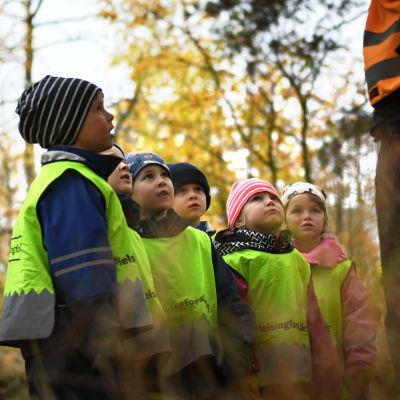 Sex dagisbarn från gruppen Valhajarna står bredvid varandra och tittar upp mot sin småbarnspedagog. I bakgrunden träd i höstiga färger.