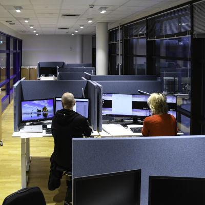 Ett av de små kontorslandskapen