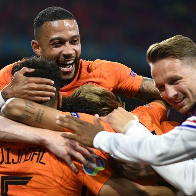 Holland jublar efter ett mål mot Österrike.