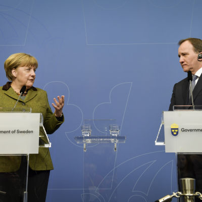 Tysklands förbundskansler Angela Merkel och Sveriges statsminister Stefan Löfven i Stockholm.