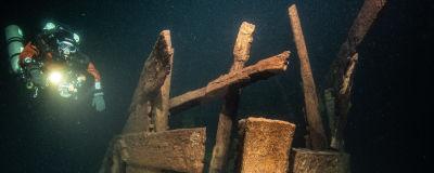En dykare dyker bredvid ett vrak.