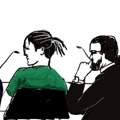 Sketch från rapartisten Asap Rockys rättegång i Stockholm.