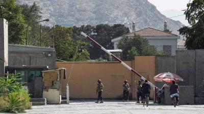 Vakter vid den gröna zonen i Kabul
