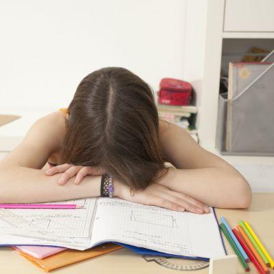 Flicka har somnat över sina skoluppgifter