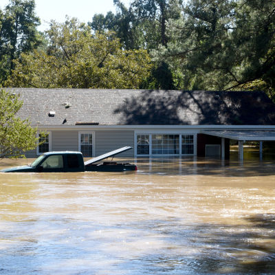 A home and truck are submerged after flooding caused by Hurricane Matthew, in Hope Mills, North Carolina, USA, 09 October 2016