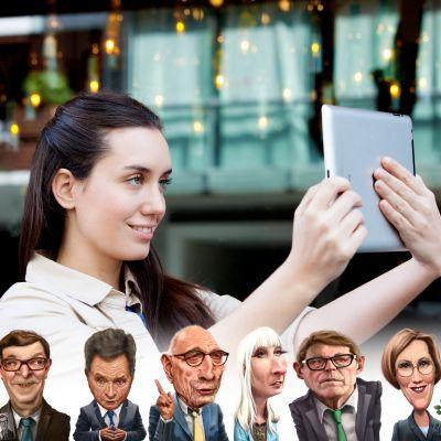 Bild av ung kvinna som ser in i en pekplatta, med karikatyrer a