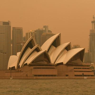 Savu peittää Sydneyn oopperataloa.