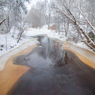 Osittain sula Virojoki talvella kuvattuna sillalta yläjuoksulle.