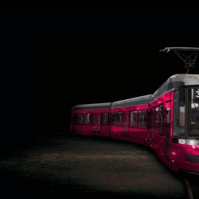 kuvamanipulaatio pinkistä ratikasta