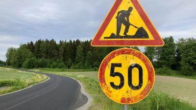50 km/h fartbegränsning på Fagerviksvägen ställvis.