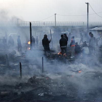 Bild av migranter i flyktinglägret i Calais då franska myndigheterna stänger ner delar av lägret, publicerad 12 mars 2016.