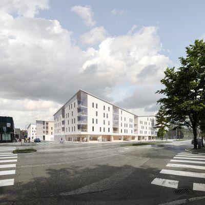 Havainnekuvassa on puukerrostaloja sekä katua ylittäviä pyöräilijöitä ja jalankulkijoita.