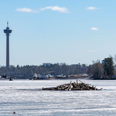 Tukkikasa Näsijärven jäällä.