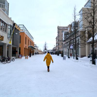 Gågatan i centrum av Jakobstad.