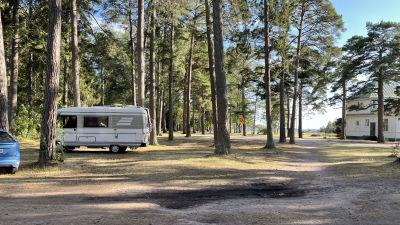 Bild av en husbil som har parkerat mellan träden i Casinoparken i Hangö.
