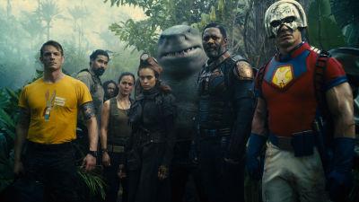 Ett gäng superskurkar i stridsmundering står i en djungel.