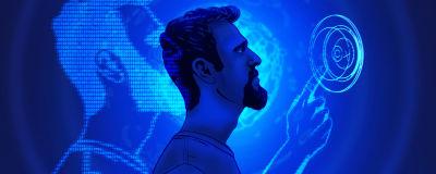Illustration på en person som samarbetar med en dator.