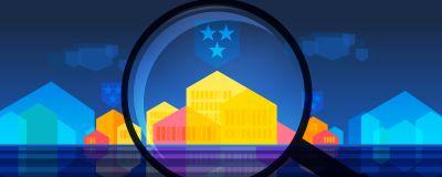 Grafik av ett förstoringsglas som ligger ovanför färgglada hus och mörkblått kommunvapen.
