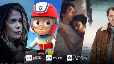 Areenan sarjoista otettuja kuvia. Alla logoja Yle TV1 HD, Yle TV2 HD ja Yle Teema/Fem HD.
