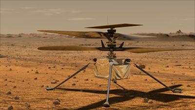Mars-helikopteri piirroksessa Marsin pinnalla valmiina lentoon.