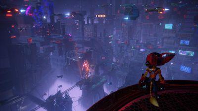 En karaktär i ett tv-spel tittar ut över en stad.