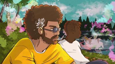 Mies afrokampauksessa, piirros