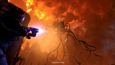 En karaktär i ett tv-spel skjuter mot ett monster.