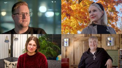 Ett bildcollage med fyra olika personer. Uppe till vänster en man med glasögon, uppe till höger en kvinna mot en bakgrund av höstfärgade träd. Nere till vänster en kvinna med glasögon, nere till höger en leende man