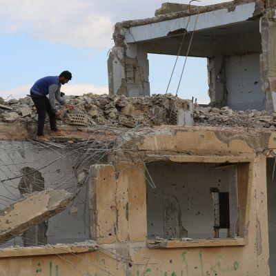 Förstörelse i Hama, Syrien.