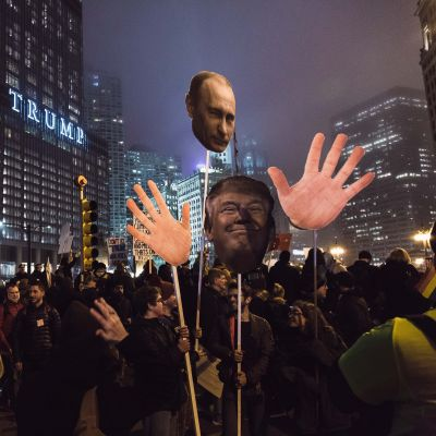 Demonstrationer vid Trumptowe i USA.